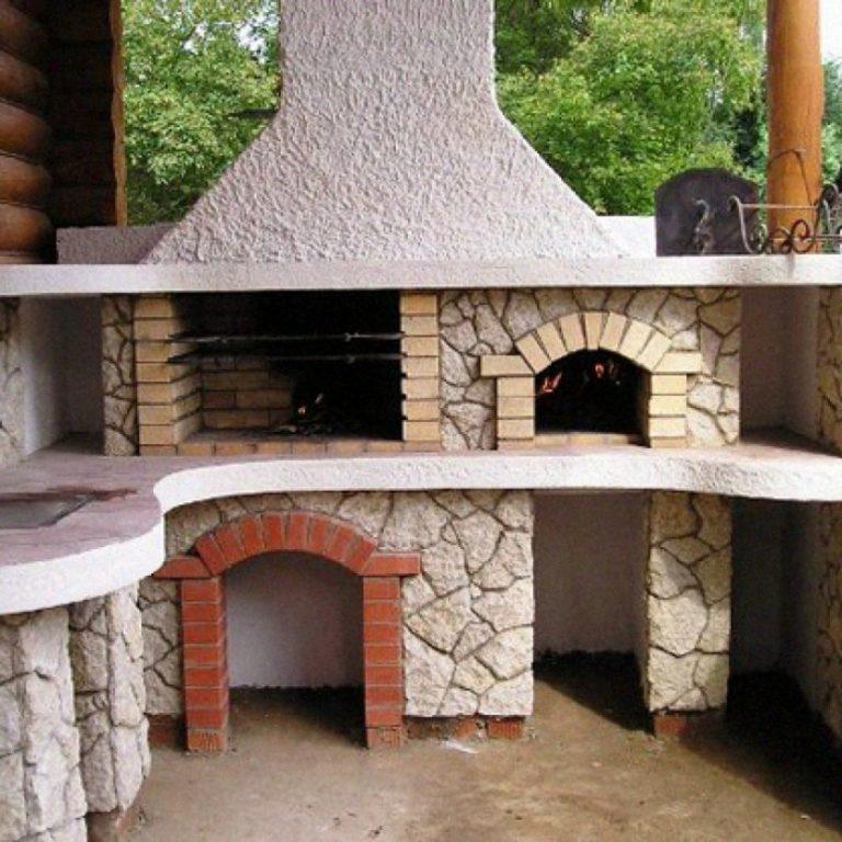 Печь с мангалом и барбекю дачная своими руками 12