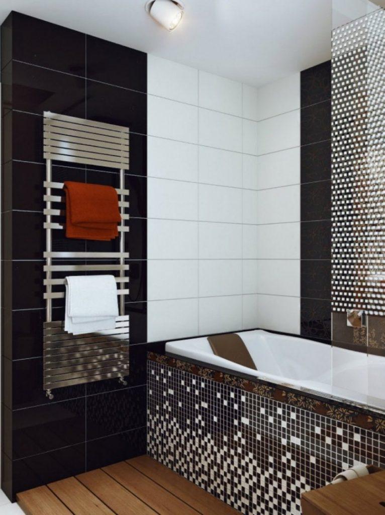 Маленькая ванна дизайн черно-белая плитка