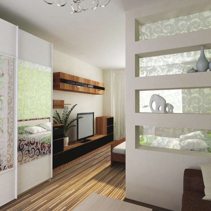 Перегородки из гипсокартона для зонирования комнаты.
