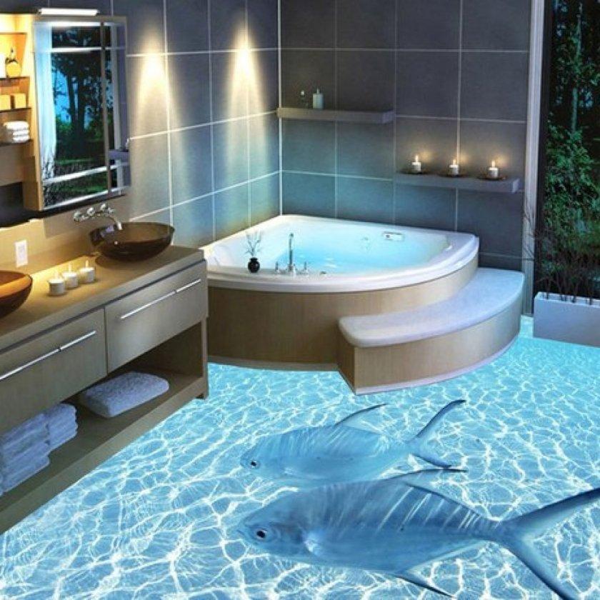 Наливной пол для ванной комнаты: варианты идеального сочетания (90 фото)