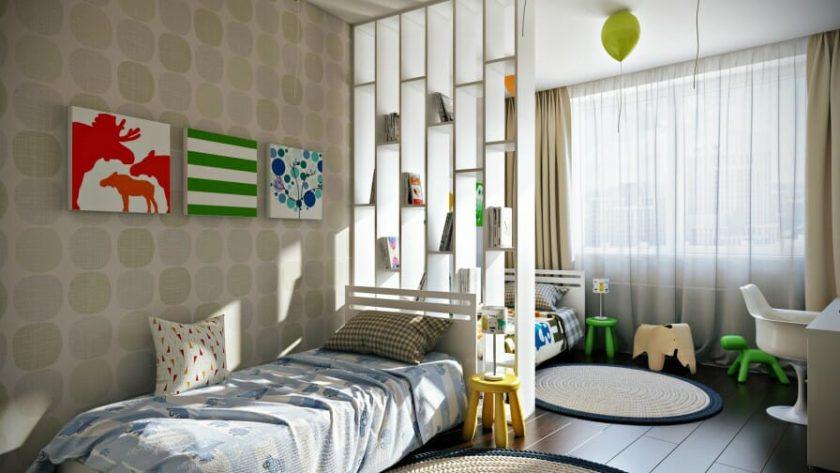 зонирование спальни и детской